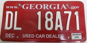 Georgia Used Car Dealer Tag